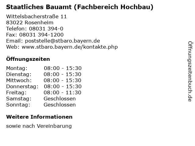 Staatliches Bauamt (Fachbereich Hochbau) in Rosenheim: Adresse und Öffnungszeiten