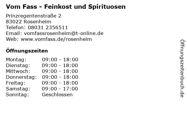 Vom Fass - Feinkost und Spirituosen in Rosenheim: Adresse und Öffnungszeiten