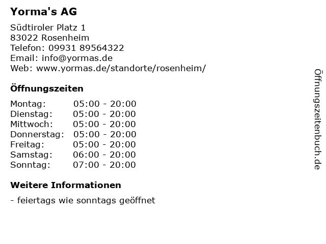 Yorma's AG in Rosenheim: Adresse und Öffnungszeiten