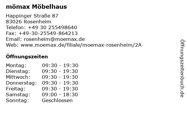 ᐅ Offnungszeiten Momax Mobelhaus Rosenheim Happinger Strasse 87
