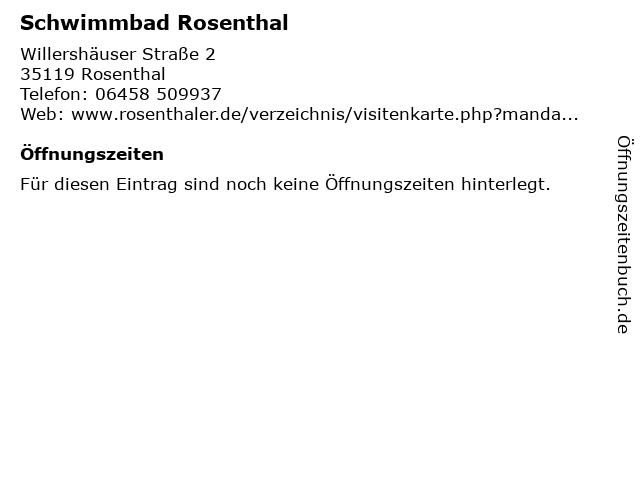 Schwimmbad Rosenthal in Rosenthal: Adresse und Öffnungszeiten