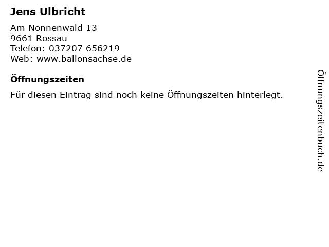 Jens Ulbricht in Rossau: Adresse und Öffnungszeiten