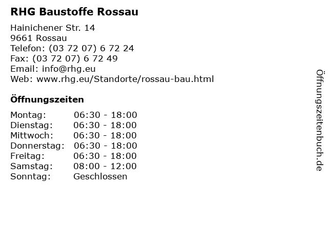 RHG Baustoffe Rossau in Rossau: Adresse und Öffnungszeiten