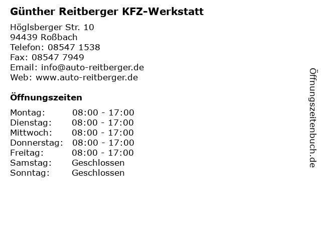 Günther Reitberger KFZ-Werkstatt in Roßbach: Adresse und Öffnungszeiten