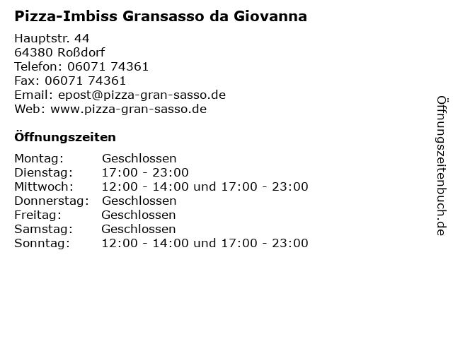 Pizza-Imbiss Gransasso da Giovanna in Roßdorf: Adresse und Öffnungszeiten