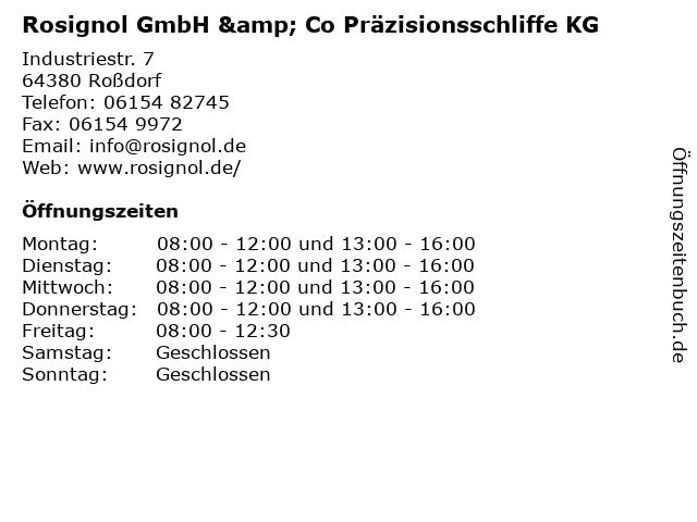 Rosignol GmbH & Co Präzisionsschliffe KG in Roßdorf: Adresse und Öffnungszeiten
