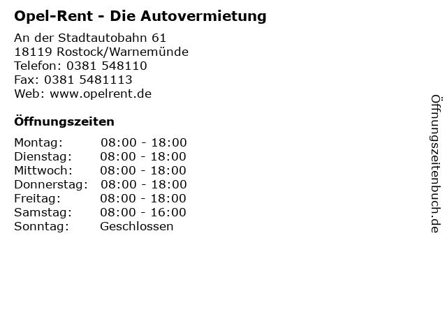 Opel-Rent - Die Autovermietung in Rostock/Warnemünde: Adresse und Öffnungszeiten