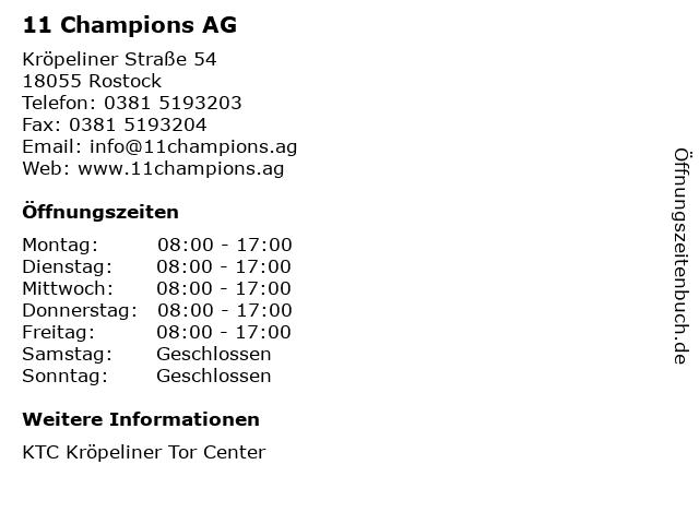 11 Champions AG in Rostock: Adresse und Öffnungszeiten