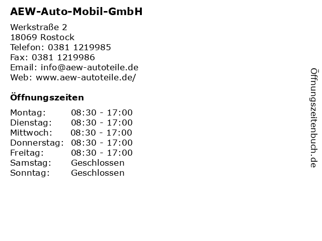 AEW-Auto-Mobil-GmbH in Rostock: Adresse und Öffnungszeiten