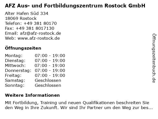 AFZ Aus- und Fortbildungszentrum Rostock GmbH in Rostock: Adresse und Öffnungszeiten
