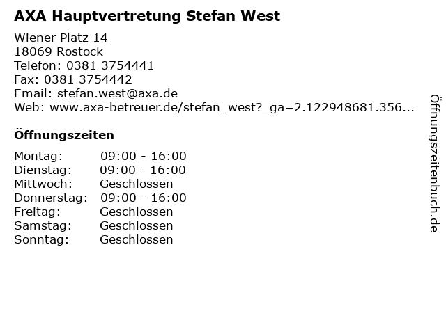 AXA Hauptvertretung Stefan West in Rostock: Adresse und Öffnungszeiten