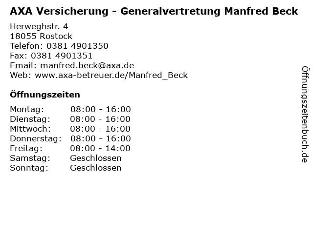 AXA Versicherung - Generalvertretung Manfred Beck in Rostock: Adresse und Öffnungszeiten