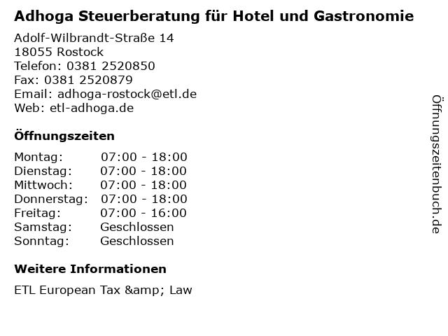 Adhoga Steuerberatung für Hotel und Gastronomie in Rostock: Adresse und Öffnungszeiten