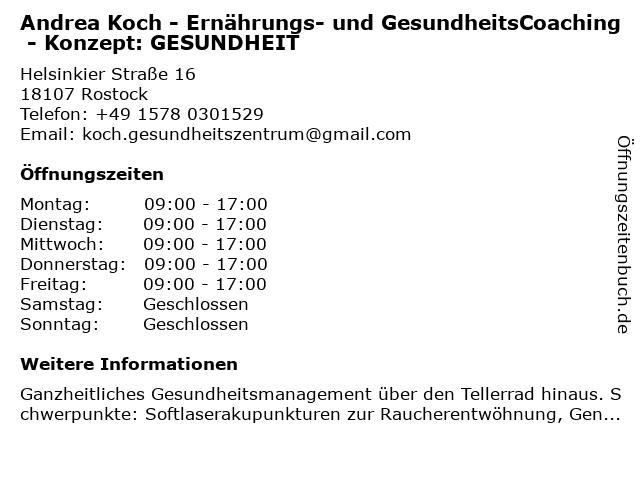 Andrea Koch - Ernährungs- und GesundheitsCoaching - Konzept: GESUNDHEIT in Rostock: Adresse und Öffnungszeiten