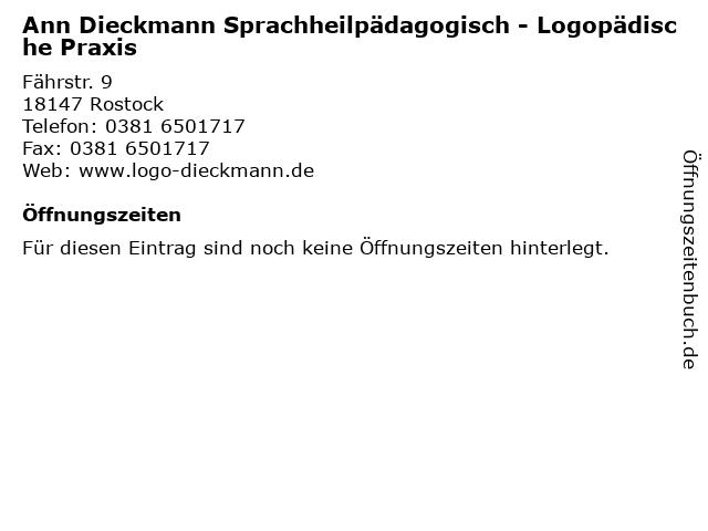 Ann Dieckmann Sprachheilpädagogisch - Logopädische Praxis in Rostock: Adresse und Öffnungszeiten
