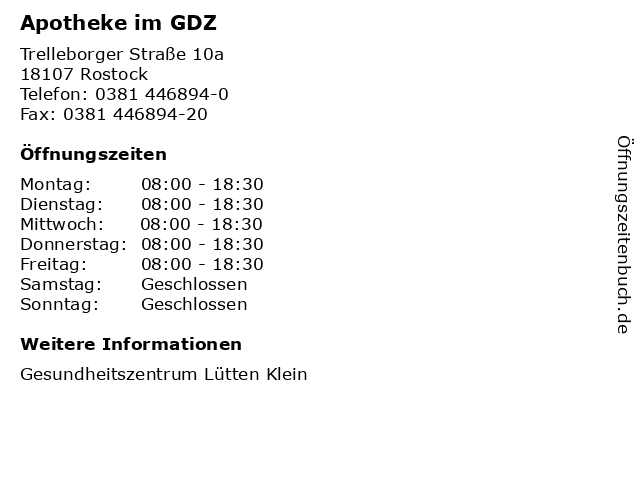 Apotheke im GDZ in Rostock: Adresse und Öffnungszeiten