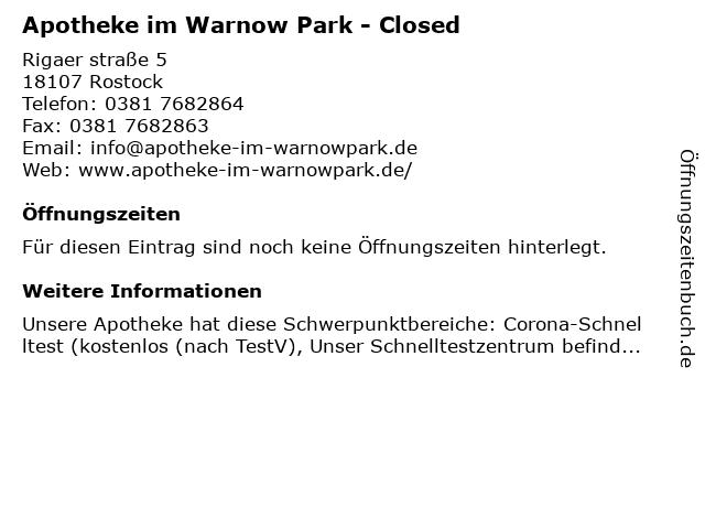 Apotheke im Warnow-Park in Rostock: Adresse und Öffnungszeiten