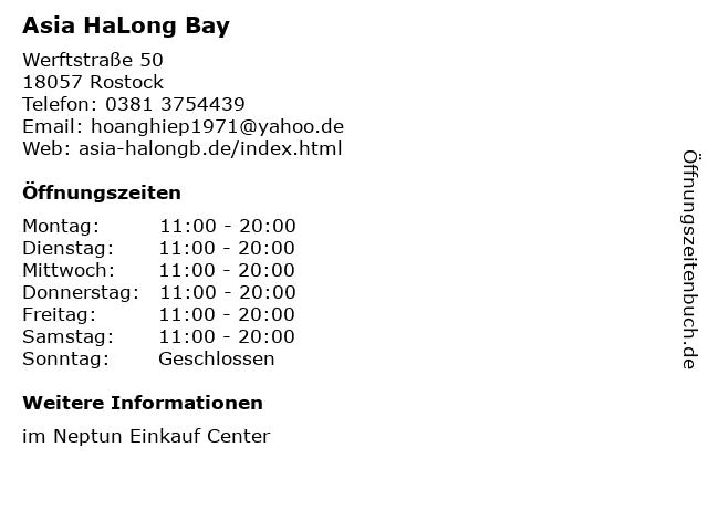 Asia HaLong Bay in Rostock: Adresse und Öffnungszeiten