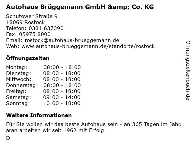 Autohaus Brüggemann GmbH & Co. KG - Service in Rostock: Adresse und Öffnungszeiten