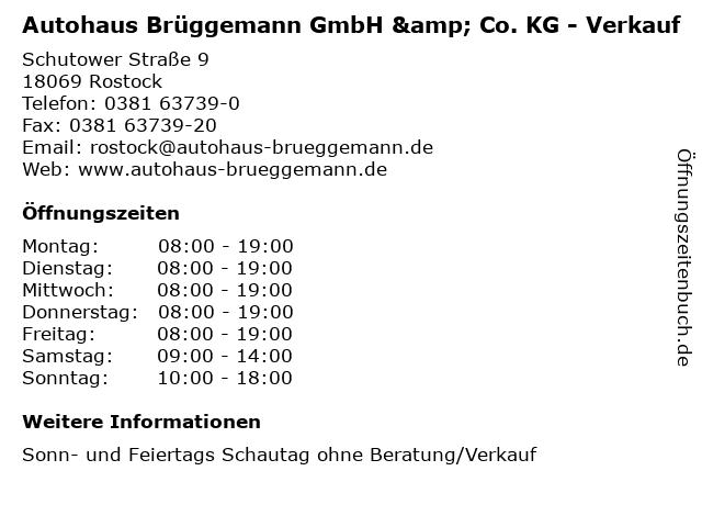Autohaus Brüggemann GmbH & Co. KG - Verkauf in Rostock: Adresse und Öffnungszeiten