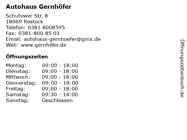 Autohaus Gernhöfer in Rostock: Adresse und Öffnungszeiten