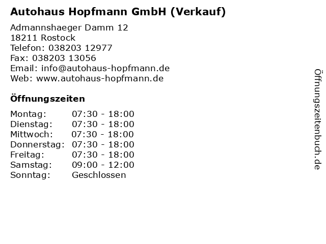 Autohaus Hopfmann GmbH (Verkauf) in Rostock: Adresse und Öffnungszeiten