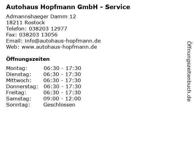 Autohaus Hopfmann GmbH - Service in Rostock: Adresse und Öffnungszeiten