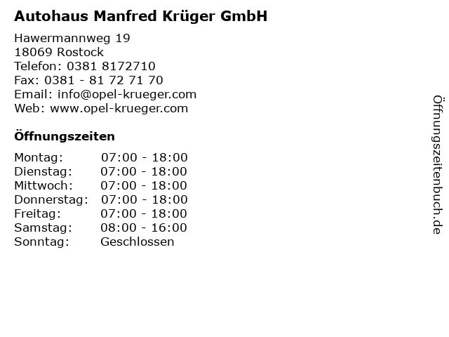 Autohaus Manfred Krüger GmbH in Rostock: Adresse und Öffnungszeiten