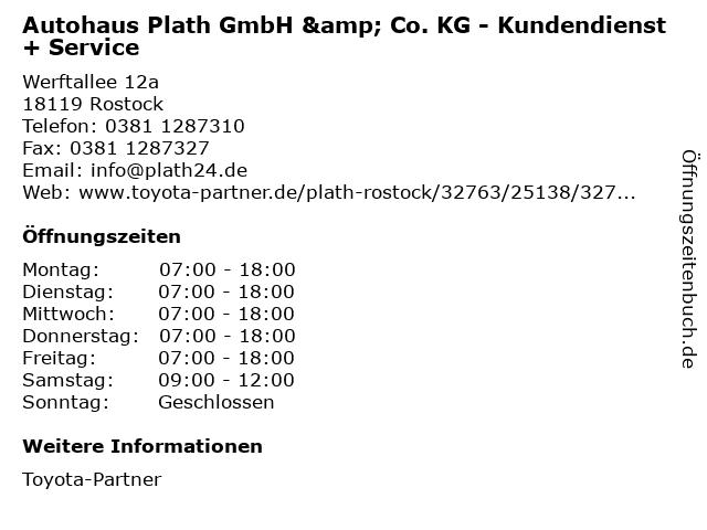Autohaus Plath GmbH & Co. KG - Kundendienst + Service in Rostock: Adresse und Öffnungszeiten