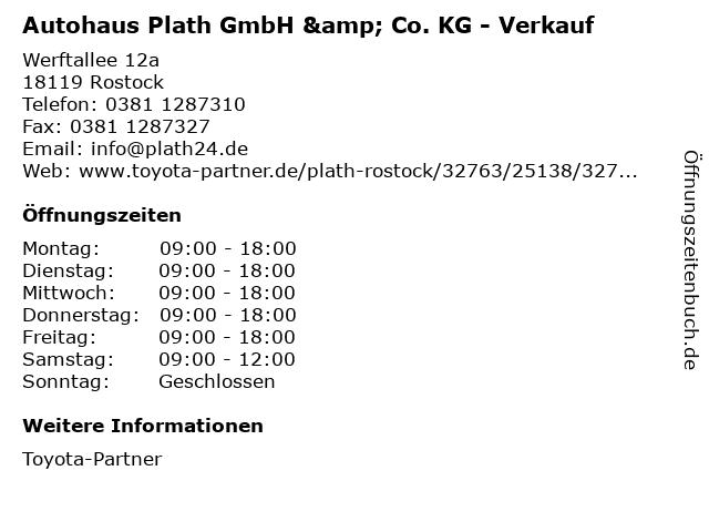 Autohaus Plath GmbH & Co. KG - Verkauf in Rostock: Adresse und Öffnungszeiten