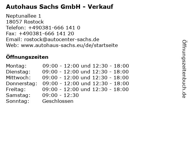 Autohaus Sachs GmbH - Verkauf in Rostock: Adresse und Öffnungszeiten