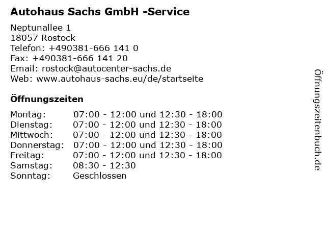 Autohaus Sachs GmbH -Service in Rostock: Adresse und Öffnungszeiten