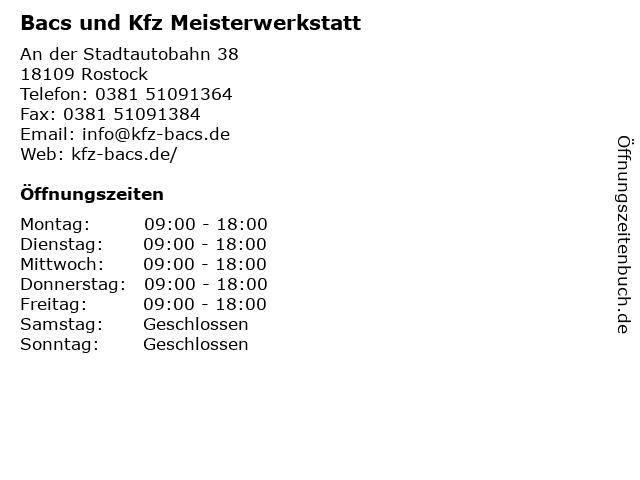 Bacs und Kfz Meisterwerkstatt in Rostock: Adresse und Öffnungszeiten
