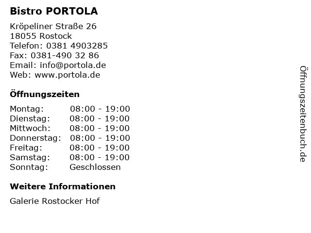 PORTOLA mediterrane Spezialitäten in Rostock: Adresse und Öffnungszeiten