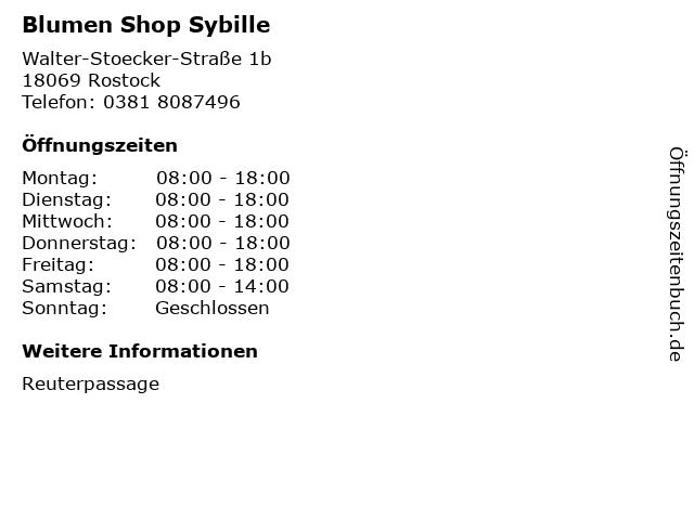 Blumen Shop Sybille in Rostock: Adresse und Öffnungszeiten