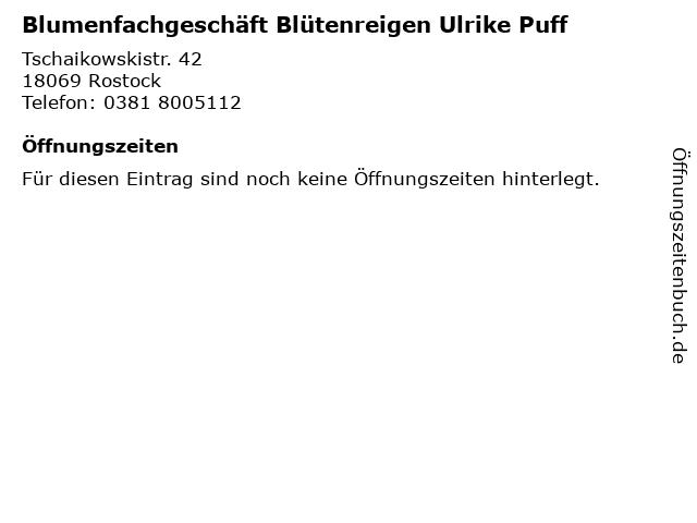 Blumenfachgeschäft Blütenreigen Ulrike Puff in Rostock: Adresse und Öffnungszeiten