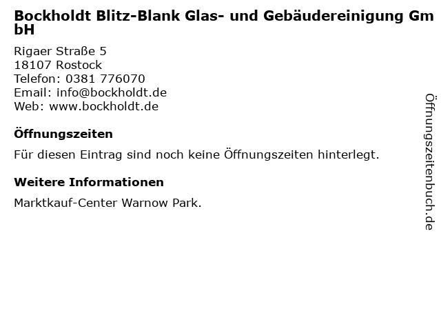 Bockholdt Blitz-Blank Glas- und Gebäudereinigung GmbH in Rostock: Adresse und Öffnungszeiten