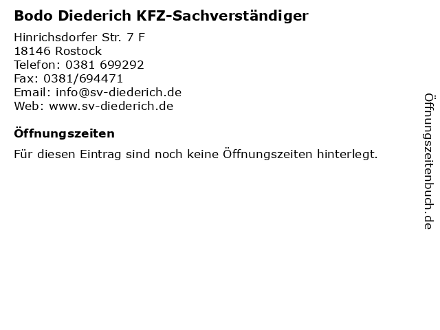 Bodo Diederich KFZ-Sachverständiger in Rostock: Adresse und Öffnungszeiten