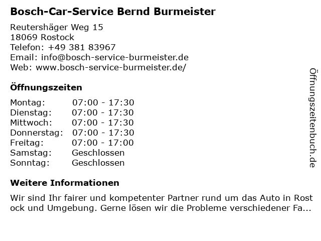 Bosch-Car-Service Bernd Burmeister in Rostock: Adresse und Öffnungszeiten