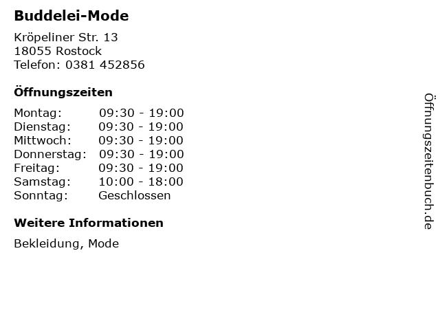 Buddelei-Mode in Rostock: Adresse und Öffnungszeiten