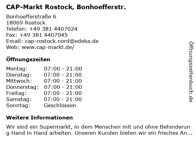 CAP-Markt Rostock, Bonhoefferstr. in Rostock: Adresse und Öffnungszeiten