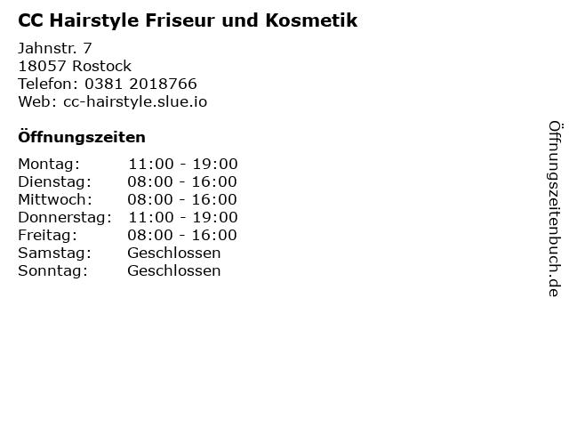 CC Hairstyle Friseur und Kosmetik in Rostock: Adresse und Öffnungszeiten