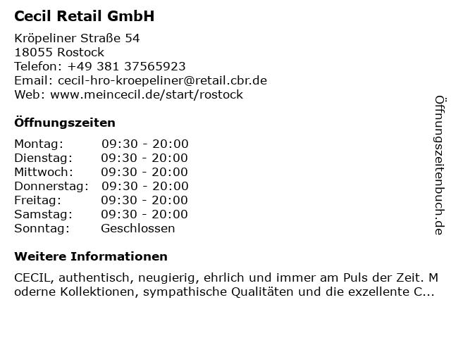 Cecil Retail GmbH in Rostock: Adresse und Öffnungszeiten