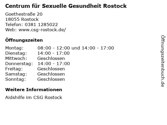 Centrum für Sexuelle Gesundheit Rostock in Rostock: Adresse und Öffnungszeiten