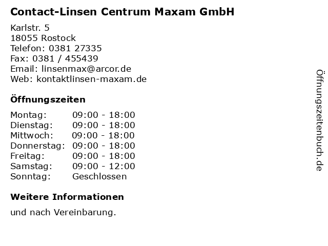Contact-Linsen Centrum Maxam GmbH in Rostock: Adresse und Öffnungszeiten