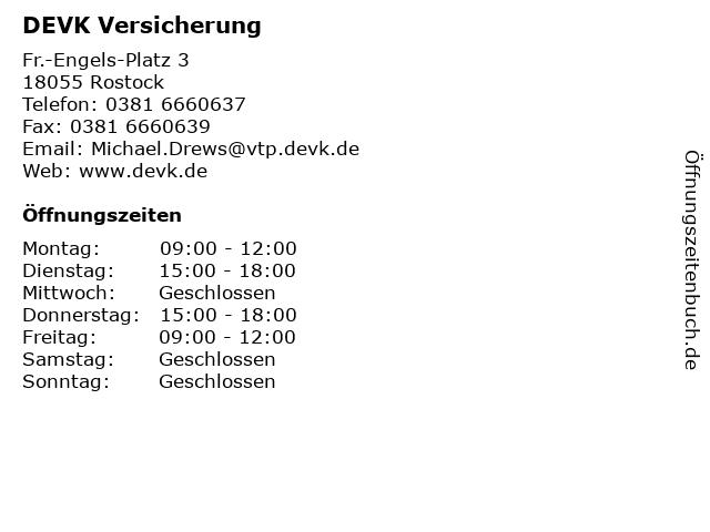DEVK Versicherung in Rostock: Adresse und Öffnungszeiten