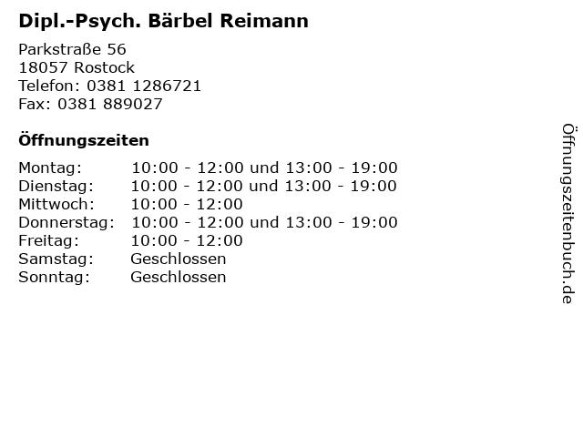 Dipl.-Psych. Bärbel Reimann in Rostock: Adresse und Öffnungszeiten