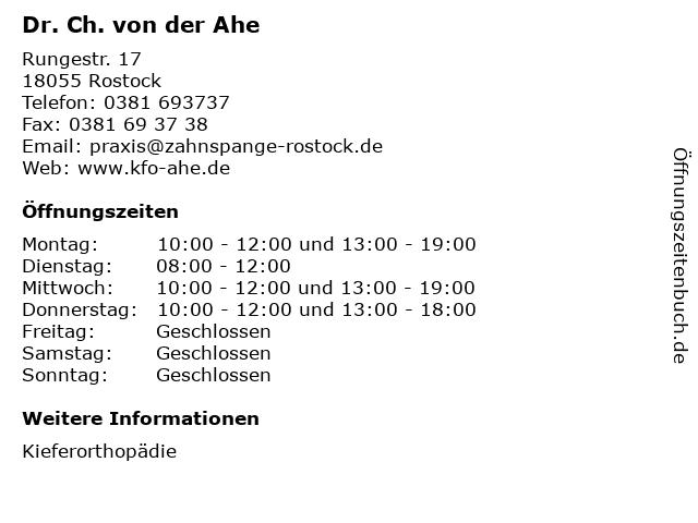 Dr. Ch. von der Ahe in Rostock: Adresse und Öffnungszeiten