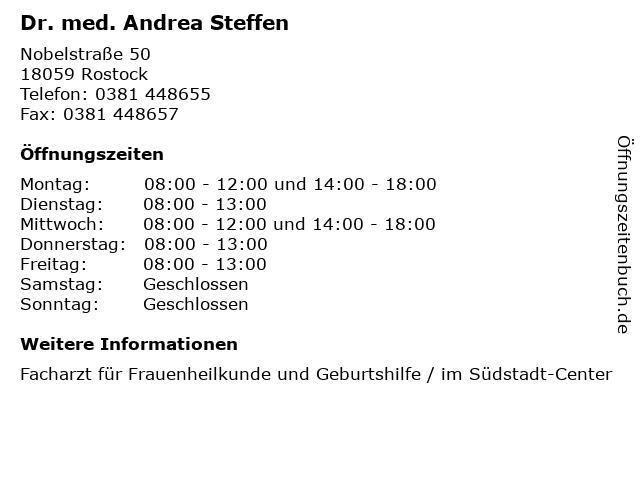 Dr. med. Andrea Steffen in Rostock: Adresse und Öffnungszeiten