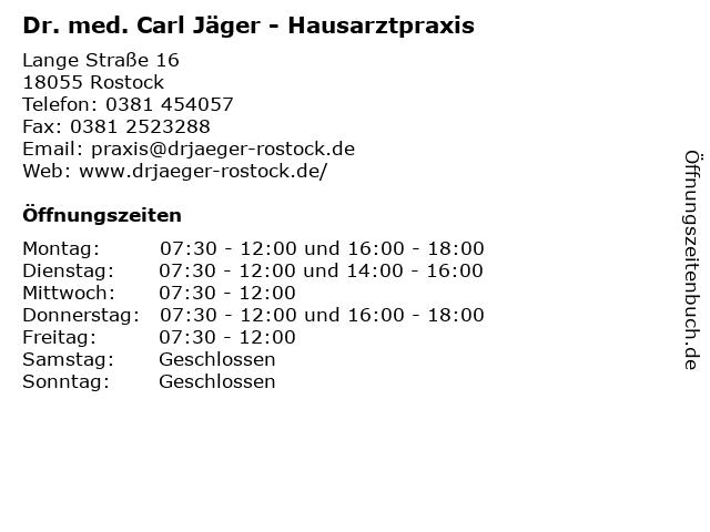 Dr. med. Carl Jäger - Hausarztpraxis in Rostock: Adresse und Öffnungszeiten